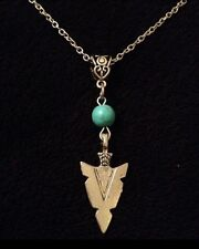 Turquoise Spear Head Arrow Necklace Native American Indian Bow Blue SILVER *UK