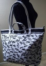 Authentic MIU MIU Logo Print Denim Tote Bag