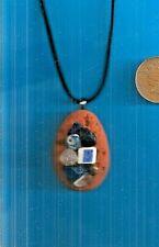 "Scottish SEA GLASS,POTTERY & SEA SHELL 18-21"" adjustable velvet pendant necklace"