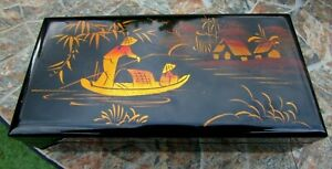 Vietnamese Made Lacquer Jewellery Box with Diorama -Mirror/Red Lining - VGC