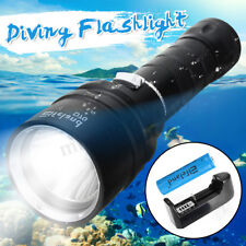 50000LM T6 LED Diving Flashlight Underwater 100M Scuba Torch Lamp+18650+Charger