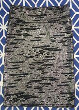 LULAROE Size L Large Black Silver Elegant Collection Cassie Pencil Skirt