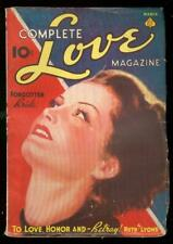 COMPLETE LOVE PULP MAGAZINE #1 MARCH 1938 PIN-UP COVER VG/FN