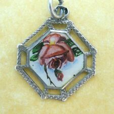 Rose Flower Charm Pendant Antique German Enamel Silver Engraved
