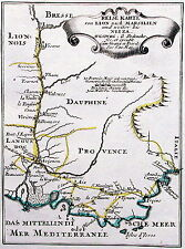 Antique map, Reise karte von Lion nach Marsilien