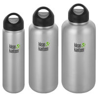 Klean Kanteen Wide Single Wall Bottle with Loop Cap - Brushed Stainless
