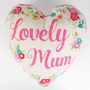 Lovely Mum HEART CUSHION Pink Cream Floral Shabby Vintage Chic Mothers Day Gift