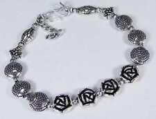 Designer Rose & 925 Silver Handmade Lovely Bracelet 220mm & gift-box