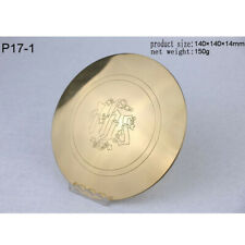 "Custom Brass Paten Plate Tray with IHS Pattern for Church Mass 5.51""DiaΦ140×14mm"