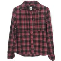 The North Face Flannel Shirt Small Womens Pink Plaid Button Front Chest Pocket