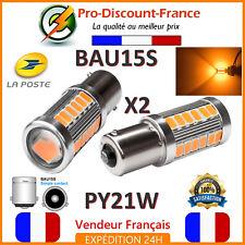 2 x Ampoule 33 LED ORANGE BAU15S PY21W VOITURE Feux de Jour SMD Clignotant