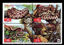 SELLOS TEMA WWF UCRANIA 2002 454/57 SERPIENTES 4v.