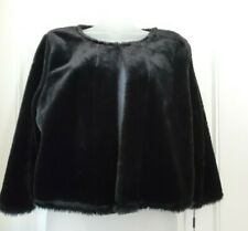 NWT Calvin Klein Womens Jacket Black Faux-Fur Collarless Shrug SIZE LARGE