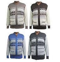 mens classic zip up vintage grandad zipped cardigan zipper knitted size s-4xl