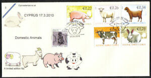 Cyprus Stamps SG 1212-16 2010 Domestic Animals Limited edition FDC (c429)