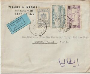 1949 SYRIA AIRMAIL COMMERCIAL COVER FROM ALEP TO ITALY