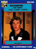 ✺New✺ 1990 RICHMOND TIGERS AFL Card CRAIG LAMBERT Scanlens