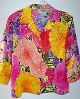 Carlisle Vintage Cotton Button Front Blouse Vibrant Floral Size 14 Shoulder Pads