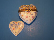 Heart Blue Ribbin With Heart authentic French Limoges Box ( New )