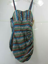 Vintage Ladies Maternity Swim Suit- Stripes with Paisley