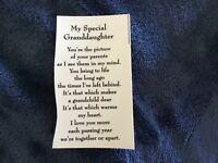 """4 Ceramic Decals kiln Granddaughter grand daughter poem  3 1/4"""""""