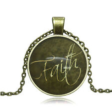 NEW Vintage Faith Cabochon Photo Bronze Glass Chain Pendant Necklace YG334