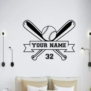 Baseball Wall Decal Sports Personalized Name Or Number Window Wall Vinyl Art