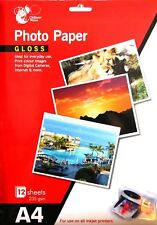 8 Sheets A4 Gloss Photo Paper 235 gsm Inkjet Printer Photo Paper Colour