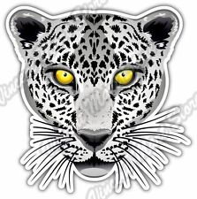 "White Leopard Yellow Eyes Cat Wild Animal Car Bumper Vinyl Sticker Decal 4""X5"""