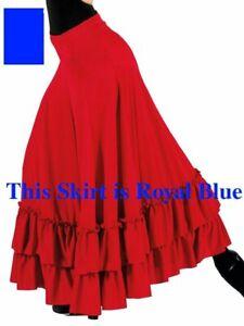 "Bal Togs 9100 Royal Blue Adult Size Small (4-6) 36"" Long Flamenco Dance Skirt"