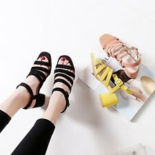 New Ladies Block Heels Kitten Heels Square Toe Ankle Strappy Sandals Shoes sz