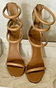 Missguided ASOS Nude Strappy Sandals 10 41 Heels Gladiator Designer Shoes Tan