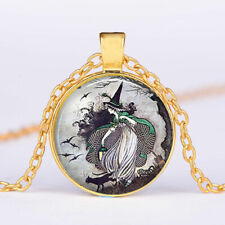 "WITCH CAT MOON Crystal charm pendant GOLD FILLED 18K necklace 20"" chain female"