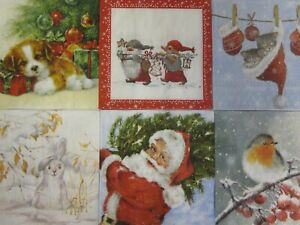 Paper Napkins x 6 Christmas Mix For Decoupage Craft Card Making (25x25cm)