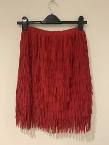 Missguided Tall Tassle Crepe Red Skirt - New With Tags