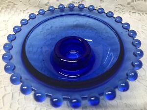 "Blue Vaseline glass candlewick pattern Candle holder uranium dish bowl cobalt 4"""