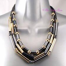 Three Row Gold Hematite Round &Tunnel Beads Multi-Strand Rock Statement Necklace