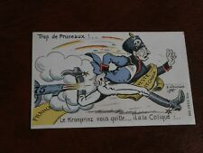 ORIGINAL FRENCH POLITICAL PROPAGANDA MILITARY WWI POSTCARD, TROP DE PRUNEAUX!