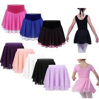 Girls Chiffon Ballet Leotard Tutu Wrap Scarf Skirt Skating Dance Dress Dancewear