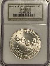 1991 P Mount RUSHMORE $1 NGC MS 70 Silver Dollar 50th Anniversary Commemorative