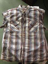 ENERGIE Black Cobra Brown-blue-white check short sleeve shirt Size X Large