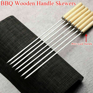 🔥6Pack BBQ Barbecue Skewers Stainless Steel Kebab Grill Sticks Wooden Handle UK