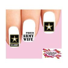 Waterslide Nail Decals Set of 20 - United States US Pround Army Wife Assorted