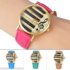 FL Women Fashion Unusual Music Note Leather Strap Band Analog Quartz Wrist Watch