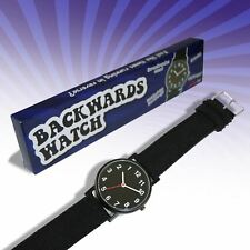 Backwards Watch Novelty Analogue Watch Fun Gadget Canvas Strap Secret Santa Gift