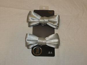 J by Crocs clips Bow JBC Sil RbnBw Silk Ribbon Bows 2pc silver grey shoe charm