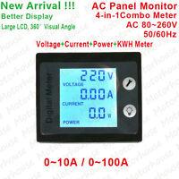AC 110V 220V 230V LCD Digital 10A 100A Volt Watt Combo Meter Ammeter Voltmeter