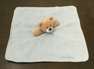 Baby Starters Lovey Blue  Plush Teddy Bear Rattle I Love Mommy Satin Minky