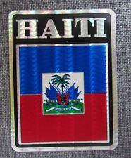 "Haiti Flag Reflective Sticker, Coated Finish, 4"" X 3"", Multipurpose, Decal"