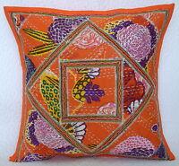 40.6cm Neu Indisch Orange Kantha Kissen Bezüge Ethnisch Faden Arbeit Dekoratives